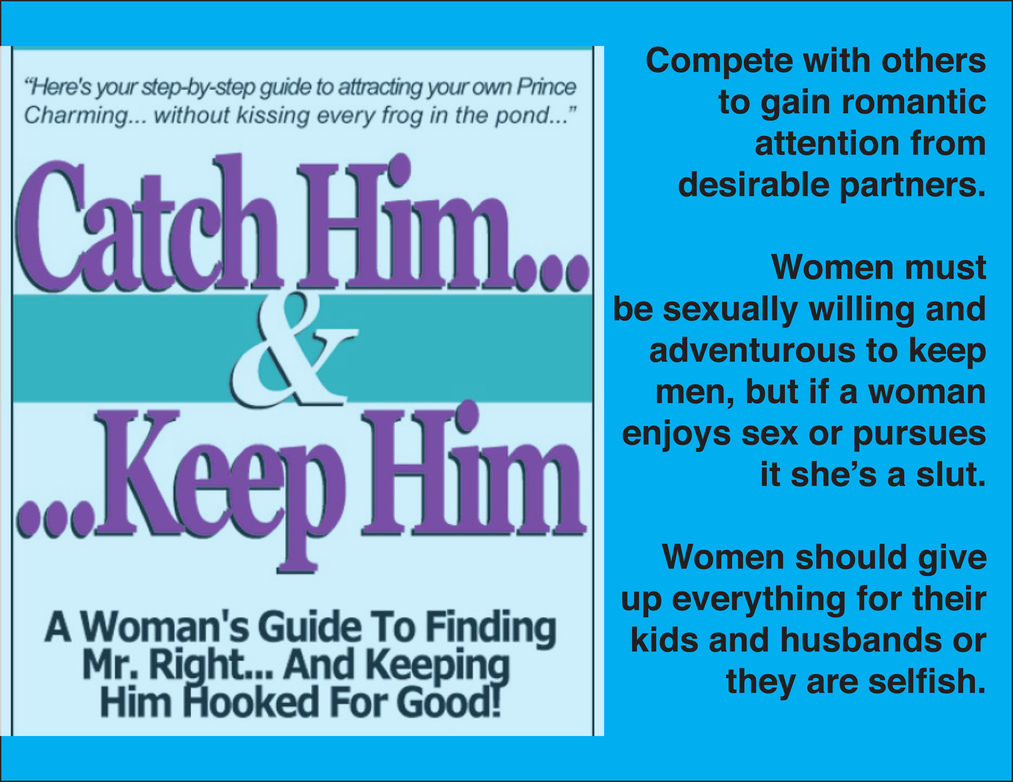 Image of Catch Him and Keep Him book cover with text reading 'Compete with others to gain romantic attention from desirable partners, Women must be sexually willing and adventurous to keep men, but if a woman enjoys sex or pursues it she's a slut, Women should give up everything for their kids and husbands or they are selfish'