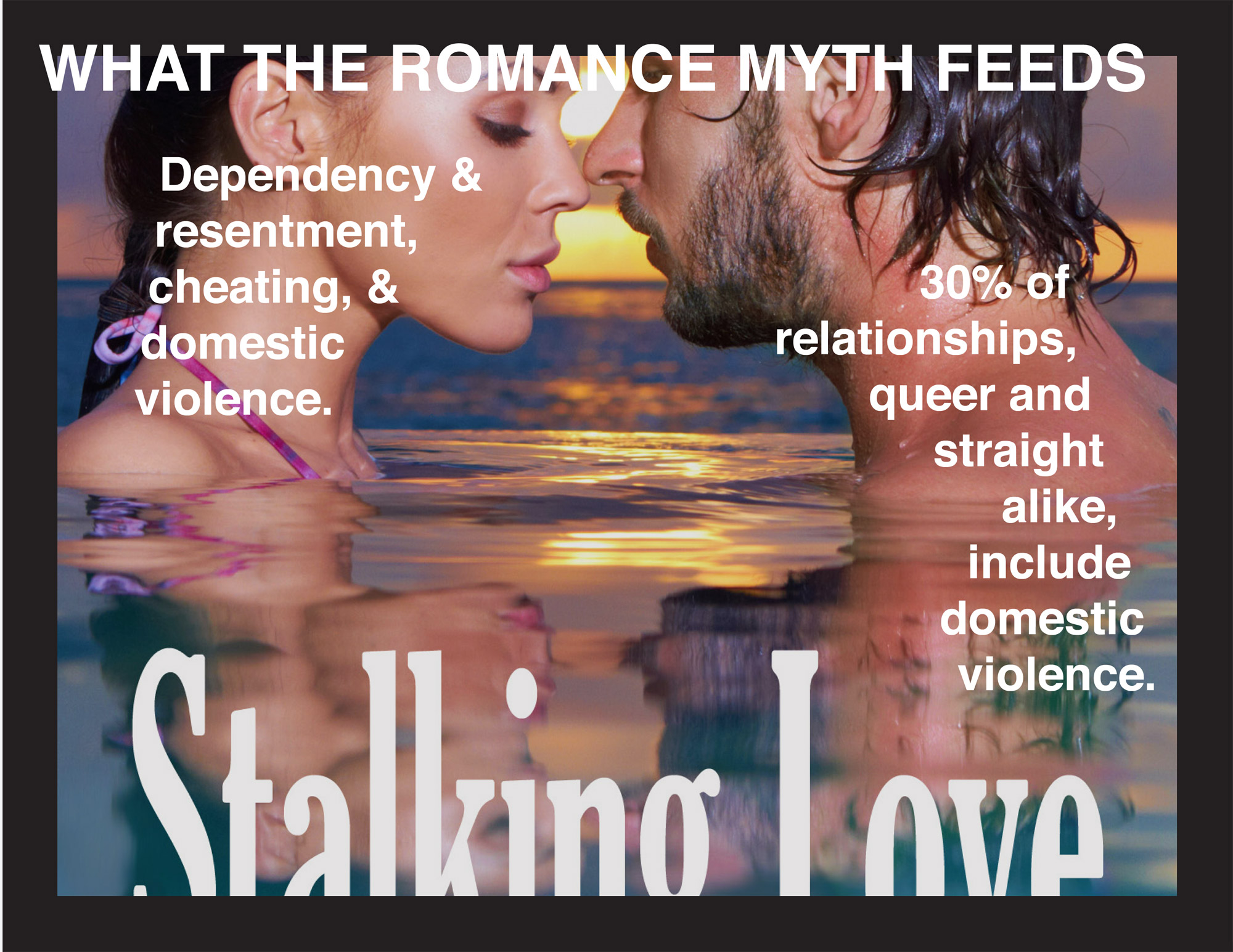 Image of cis heterosexual couple in sunset with text reading 'What the romance myth feeds - dependency and resentment, cheating, and domestic violence, 30 percent of relationships, queer and straight alike, include domestic violence'