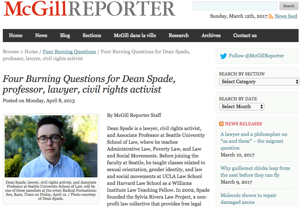 McGill Reporter: Four Burning Questions for Dean Spade