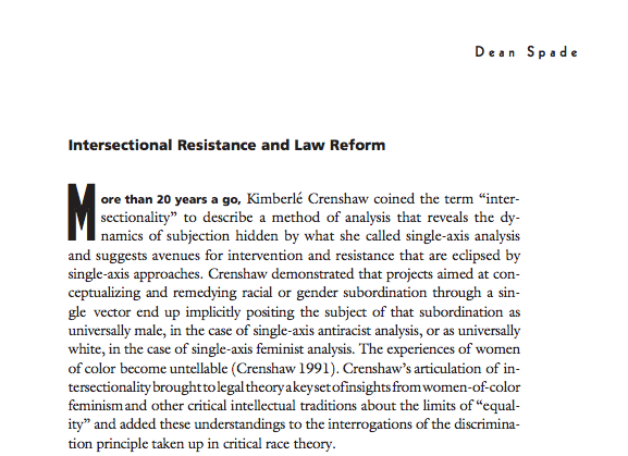 Intersectional Resistance and Law Reform