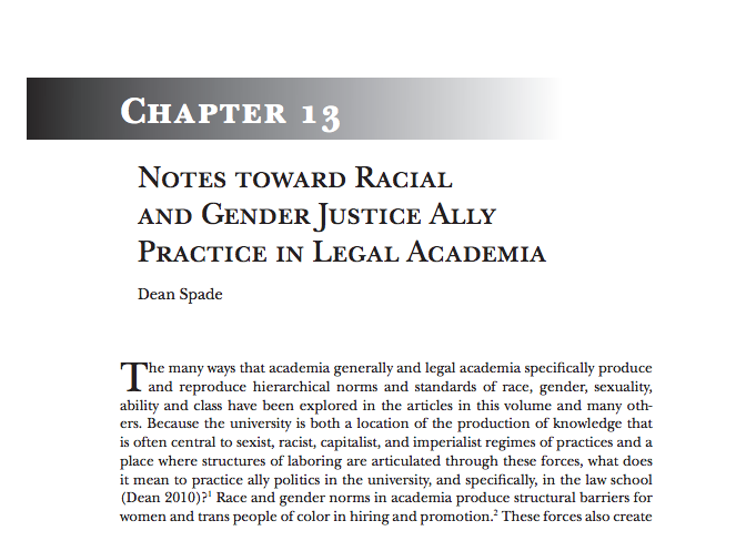 Notes Toward Racial and Gender Justice Ally Practice in Legal Academia