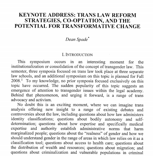Trans Law Reform Strategies, Co-Optation, and the Potential for Transformative Change